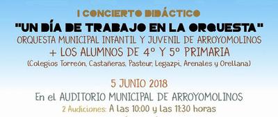 """Casi 1.000 alumnos de primaria de Arroyomolinos vivirán el 5 de junio """"Un día en la orquesta"""""""