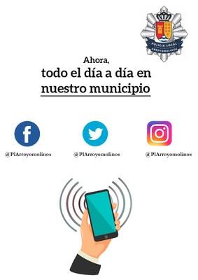 La Policía Local de Arroyomolinos abre perfiles en las principales redes sociales: Twitter, Facebook e Instagram