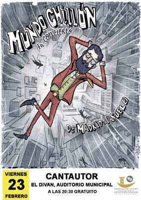 El próximo viernes 23 de febrero nos zambulliremos en el esperpento y en el humor absurdo con la música de Mundo Chillón. En el Diván del Auditórium de Arroyomolinos desde las 20:30.