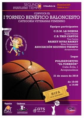 """El polideportivo """"El Torreón"""" será testigo del I Torneo Benéfico de Baloncesto en categoría veteranas femenino. Organizado por la Asociación Cultural de Mujeres de Arroyomolinos Segundo Tiempo a beneficio de la Asociación GA-1."""