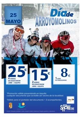 Desde las 10:00 de mañana podemos practicar esquí y snow con importantes descuentos por ser arroyomolinense.