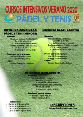 Inscripción de cursos intensivos Padel y tenis -Verano 2020