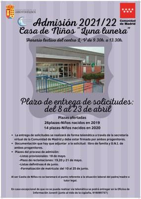 """Admisión 2021/22 Casa de Niños """"Luna lunera"""""""