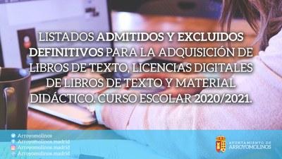 Listados de los solicitantes admitidos y excluidos definitivos para la adquisición de libros de texto, licencias digitales de libros de texto y material didáctico. Curso Escolar 2020/2021.