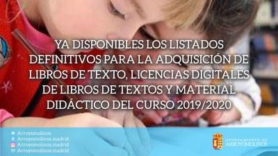 Publicados los listados de admitidos y excluidos de las solicitudes para la adquisición de libros de texto, licencias digitales de libros de textos y material didáctico del Curso Escolar 2019/2020.