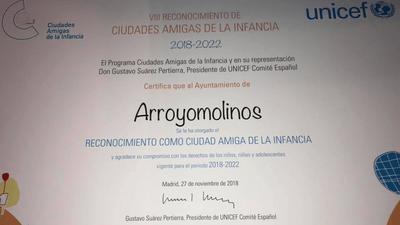 """Arroyomolinos reconocida como """"Ciudad Amiga de la Infancia"""" de UNICEF"""