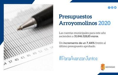 El Ayuntamiento de Arroyomolinos aprueba el Presupuesto municipal para 2020, que incrementa en un 54,8% la asignación en políticas sociales