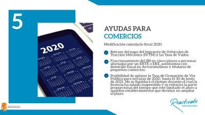 El Ayuntamiento de Arroyomolinos aprueba una modificación del calendario fiscal que incluye retrasos en el pago de algunos impuestos y tasas y el fraccionamiento de otros