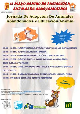 El Centro de Protección Animal de Arroyomolinos organiza una jornada de adopción de animales abandonados y educación animal.