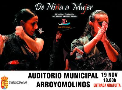 """""""De niña a mujer"""" será el espectáculo que se ponga encima de las tablas del Auditorium de Arroyomolinos dentro de la Programación contra la Violencia de Género."""