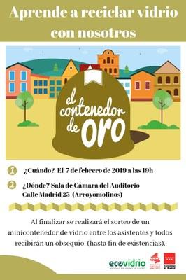 """El Ayuntamiento de Arroyomolinos y Ecovidrio organizan el taller """"Aprende a reciclar vidrio con nosotros"""". El taller se desarrollará el 7 de febrero en la Sala de Cámara del Auditorio de Arroyomolinos."""