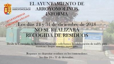 Los días 24 y 31 de diciembre no se realizará la recogida de residuos